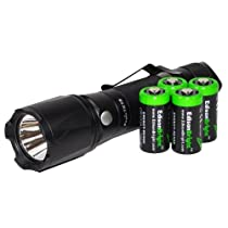 Fenix TK15 S2 400 Lumen LED Tactical Flashlight with Four EdisonBright CR123A batteries