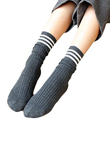 [Zando Youth Girl's Preppy Style Fashion Cotton Big-Tall Cotton Lightweight Socks Dark Grey] (Jackie Nurse Shoes)
