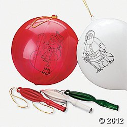 12 CHRISTMAS Punching BALLS/Balloons w/Rubber Band Handle/PUNCH/PARTY FAVORS/Stocking Stuffers/HOLIDAY TOYS/RED/Green/White - 1