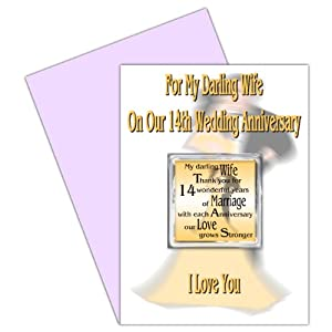 Wedding Gift 14 Years : 14th Wedding Anniversary Card With Removable Magnet Gift - 14 Years ...