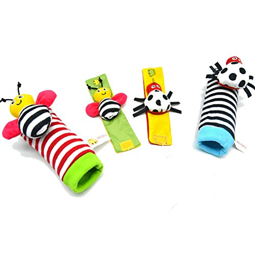 Deardeer 4 x Baby Infant Soft Toy Animal Wrist Rattles Hands Foots Finders Developmental Toys (Bee and Ladybug) (Rattle Feet compare prices)