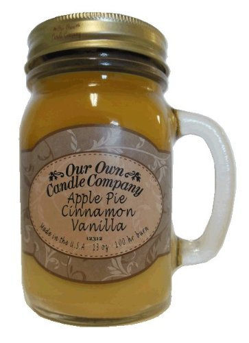 13 oz APPLE PIE CINNAMON VANILLA Scented Jar Candle (Our Own Candle Company Brand) Made in USA (1)