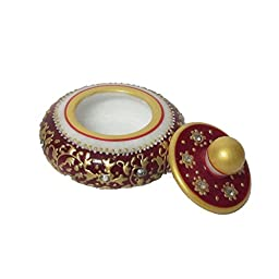 eCraftIndia Round Sindoor Holder (Red) (3 IN, Red and Golden)