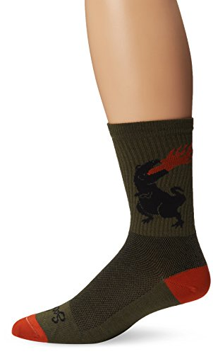 SockGuy Men's Dinosaur Wool Socks, Olive, Large/X-Large (Cycling Sock Guy compare prices)