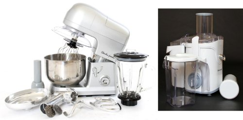 PACKAGE DEAL Kitchen Powerful 3 in 1 FOOD STAND MIXER INC Blender,Meat Grinder 5L in SILVER, Most POWERFUL 1200W + Charles Jacobs 2.0L ELECTRIC Whole FRUIT JUICER in White Compact 800W POWER, comes with BRUSH for cleaning from Charles Jacobs