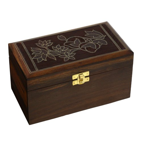 Indian Jewelry Box Large for Women Floral Carving Wire Inlay Wood