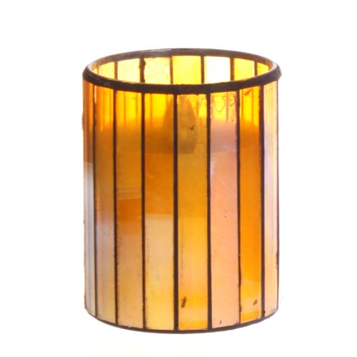 Dfl 3*4 Inch Yellow Vertical Stripes Mosaic Glass With Flameless Led Candle With Timer,Work With 2 Aa Battery