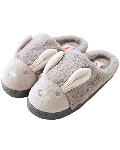 Minetom Donne Pantofole Calde Autunno Inverno Morbido Scarpe Antiscivolo Casa Cartone Animato Slippers Grigio EU 39