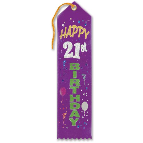 "Happy 21st Birthday Award Ribbon 2"" x 8"" Party Accessory"