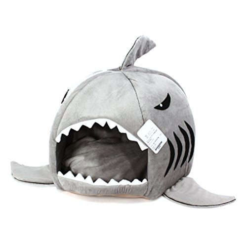 MLXGER® Cute Grey Shark Round House Puppy Bed for Small Cat Dog Cave Removable Cushion, Pet Collapsible Indoor House Bed Shelter (Medium)