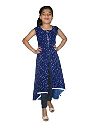Titrit Blue Printed Cape Dress Wihout Legging
