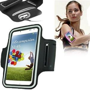 Brassard tour de bras noir pour Samsung Galaxy S4 i9500 et S3 i9300 idéal pour les sportifs, course à pied ou salle de sport, pochette pour clé et trous pour écouteurs.