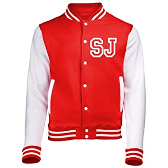 KIDS VARSITY JACKET WITH FRONT INITIAL PERSONALISATION ( Extra Small - Age 3/4 - Fire Red / White ) NEW PREMIUM Unisex American Style Letterman College Baseball Custom Top Boy Girl Children Child Gift Present AWD Soulstar Omega Bomber - By Fonfella
