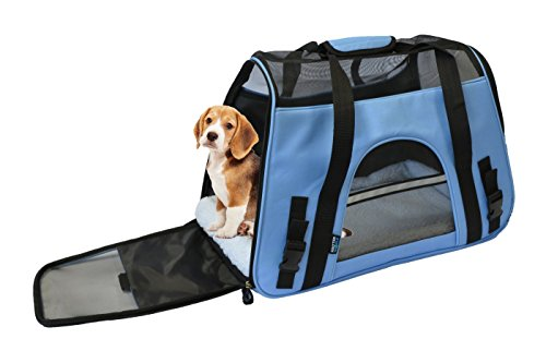 KritterWorld 19-Inch Large Soft Sided Pet Carrier Comfort Airline Approved Travel Tote Shoulder Bag for Small Dogs Cats Small Animals Tote w/ Seat Belt Buckle & Removable Fleece Bed – Blue
