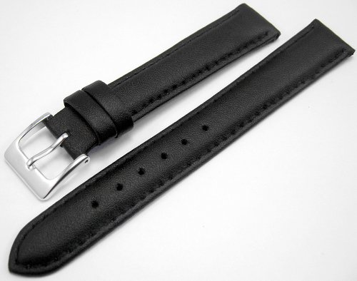 Black Padded Leather Watch Strap Band With A Stitched Edging And Nubuck Lining 16mm