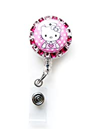 SIZZLE CITY New Custom Made Bling Rhinestone ID Badge Pull Reel Retractable ID Badge Holders (Pink Hello Kitty Nurse)