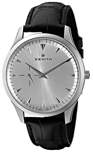 ZENITH ELITE 03.2010.681/01.C493 GENTS BLACK CALFSKIN STAINLESS STEEL CASE WATCH