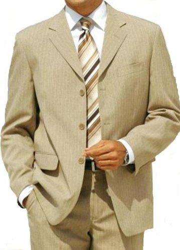 MUGA Pinstripe mens Suit + Waistcoat, Beige, size 58R (EU 68)