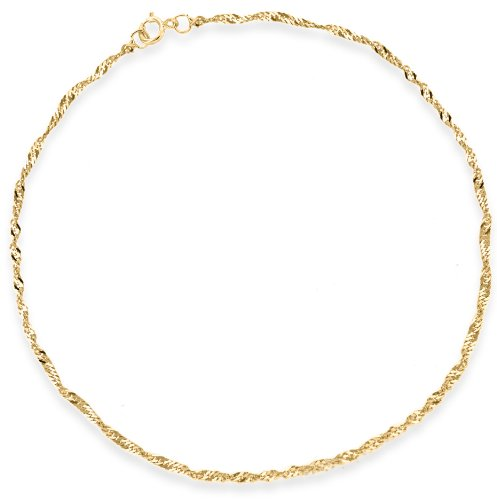 9ct Yellow Gold Twist Curb Anklet 23cm/9