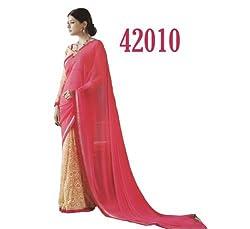 Starmart Womens Cotton Straight Dress Material Lt Saffron Georgette Sarees 42010