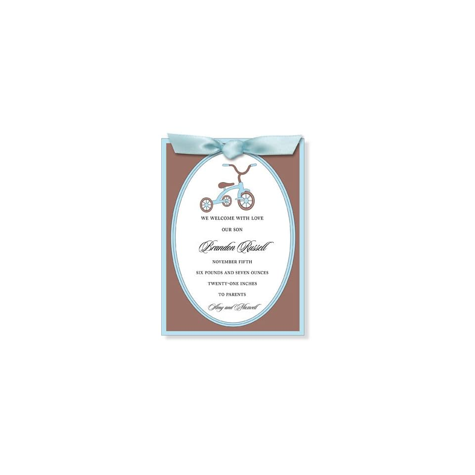 Childrens Birthday Party Invitations   I Like Trike Blue Ribbon Invitation