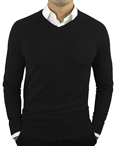Comfortably Collared Men's Perfect Slim Fit V-Neck Sweater Large Black