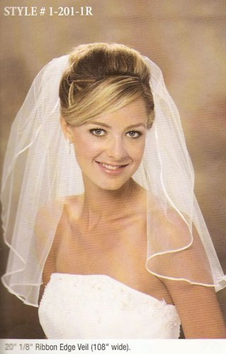 Wedding  Bridal Veil: 1 Layer Shoulder Length Veil w/ Small Ribbon Edge