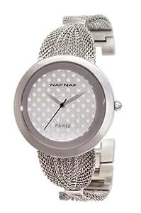 Naf Naf - N10054-204 - Kittie - Montre Femme - Quartz Analogique - Cadran Argent - Bracelet Acier Argent