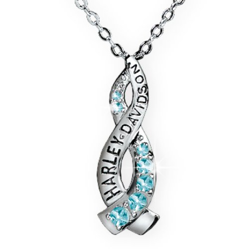 Sterling Silver Harley-Davidson Ladies Crossroads Necklace - December Blue Zircon
