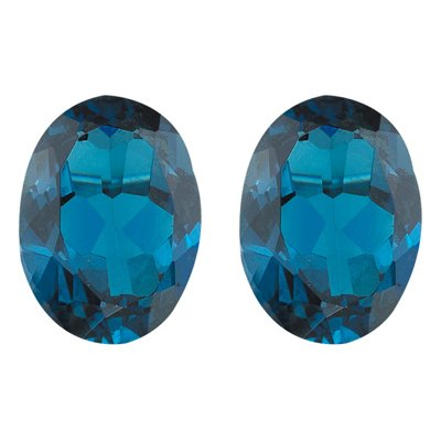 3.76 Cts of AAA 9x7 mm Oval Pair Matching Loose London Blue Topaz ( 2 pcs set ) Gemstones