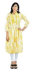 SAIFASHIONS Women's Cotton Kurta (KURTI_SAI_600, White and Yellow, XX-Large)