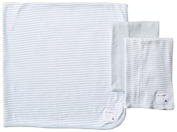 Burt's Bees Baby-Boys Organic Set Of 2 Burp Cloths and Striped Blanket, Sky, One Size