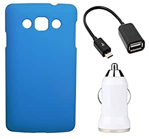 Toppings Hard Case Cover With OTG Cable & Car Charger For LG L60 - Skyblue