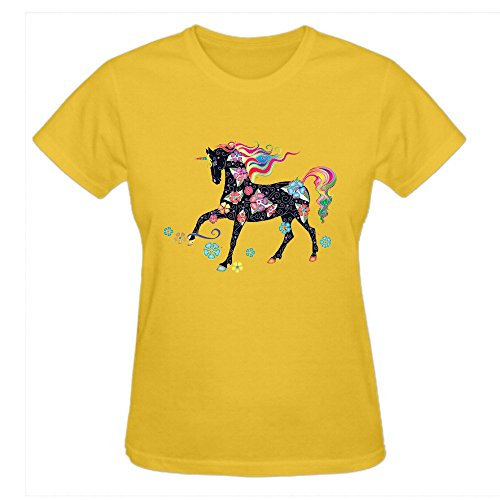 Lysac Test Unicorn Rainbow Graphic Tee Shirts women Crew Neck Yellow (Rainbow Tye Dye Shorts compare prices)