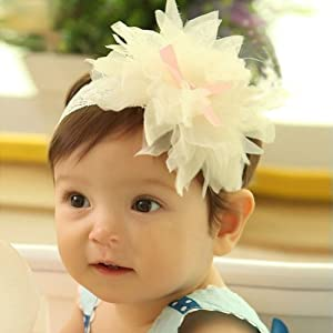 1 Piece Baby Girls Ruffle Flower Elastic Lace Hair Decor Hairband Headband