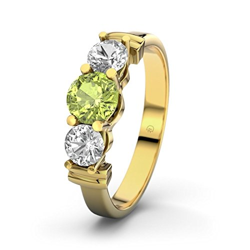 Sabrina 21DIAMONDS Women's Ring Peridot Round Brilliant Cut Engagement Ring, 18 K Yellow Gold Diamond Engagement Ring