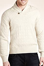 Blue Harbour Pure Cotton Shawl Collar Cable Knit Jumper [T30-5134B-S]