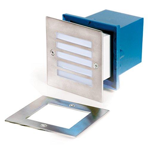 Aurora 12V Led Stainless Steel Ip54 Square Recessed Step Light - White Light - Ar-Stl440W