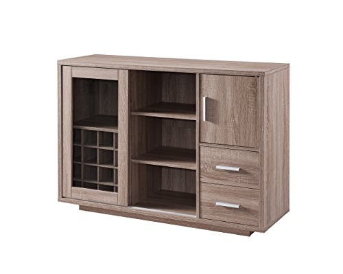 Iohomes Thandie Dining Buffet And Wine Cabinet Weathered Wood Furniture Cabinets Storage