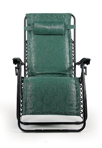 Camco 51841 Zero Gravity Padded Wide Recliner (X-Large, Green Swirl Pattern)