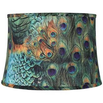 Peacock Print Drum Lamp Shade 14x16x11 (Spider)