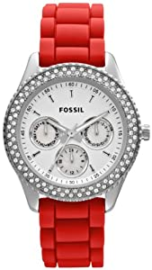 Fossil Women's Stella ES3213 Red Silicone Quartz Watch with White Dial