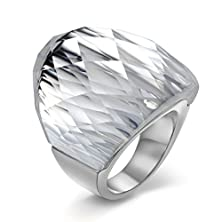 buy Womens Mens Fashion Stainless Steel Ring Super Sized White Crystal Ring,Silver,Size 7