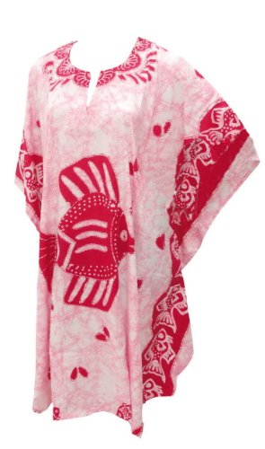 Hot Pink Fish Printed Short Plus Size Kaftan