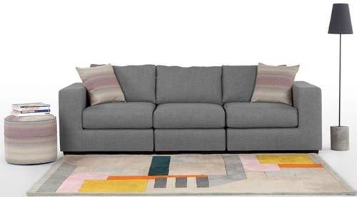 FabHomeDecor Emilio Three Seater Sofa (Light Grey)