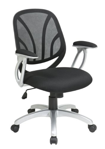 Office Star WorkSmart Screen Back Managers' Chair with Black Mesh Seat