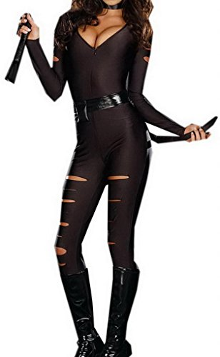 Bigood Night Prowler Catwomen Catsuit Jumpsuit Halloween Costume Roleplaying