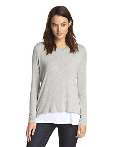 James & Erin Women's Long Sleeve Contrast Layered Top