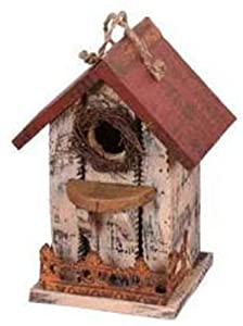 Garden Decoration HT08644C Birdhouse, 9.5-Inch, Cream