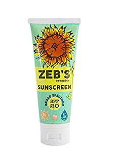 Zebs Organics Sunscreen, Natural & Organic, SPF 20, 3.4oz